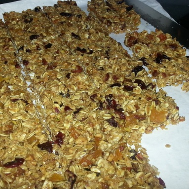 Cut the granola into 16 equally sized bars.